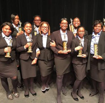 Connie Jordan (Third from right) and the victorious Rich Central High School Mock Trial Team